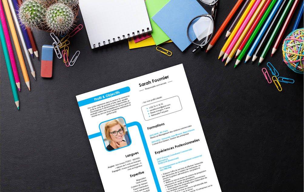 Un CV qui propose une grande lisibilité ponctuée de couleurs vives.