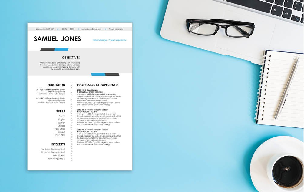This modern resume template will show how professional you are thanks to its design and format