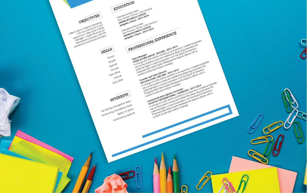 The design and colors wll help you create that great simple CV template you always needed!