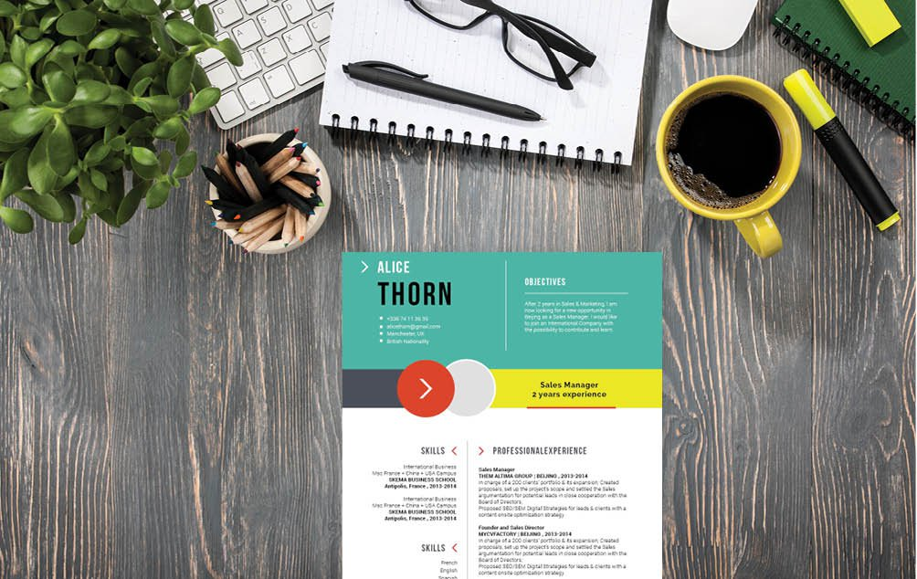 Colors and styles make this resume format creative and functional