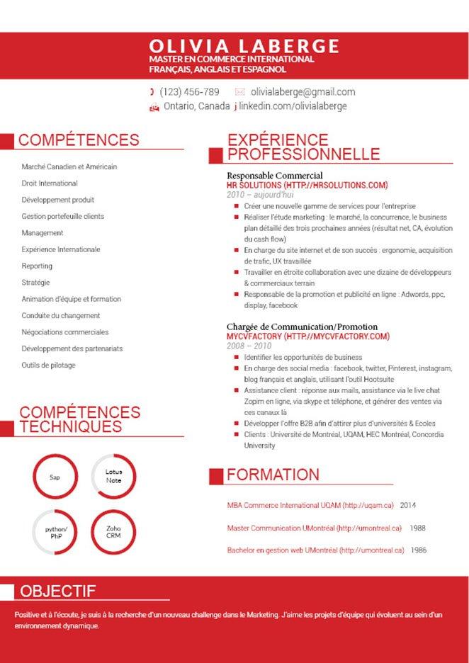 Un modèle de CV étalant sur 2 pages ses informations, mais en égayant de touches de rouge son en-tête, intitulés, puces, sous-titres, etc.