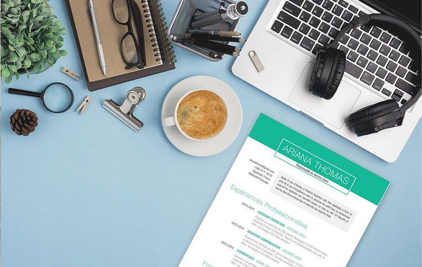 Curriculum vitae stylé disposant d'une mise en page bien calculée, usant du gris et du  vert pour souligner les informations clés.