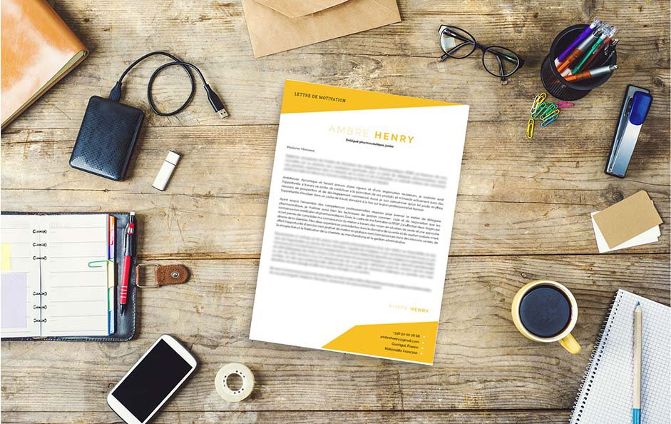 Une lettre de motivation design dédiée aux métiers de l'enseignement.