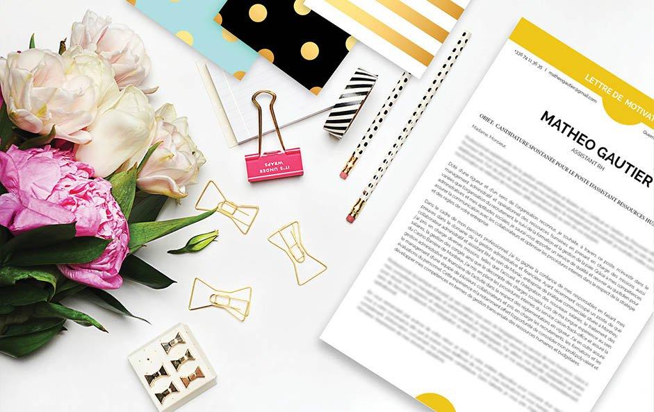 Une lettre de motivation design pour une candidature dans le secteur commercial et marketing.