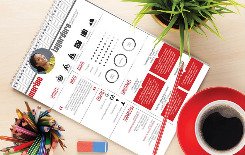 Un cv professionnel qui conquiert de par une présentation combinant agréablement le rouge et le gris.