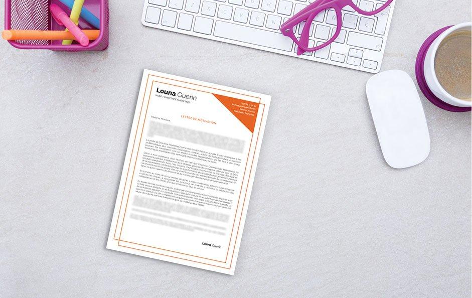 Une lettre de motivation design faite pour une postulation dans le secteur de la communication, des médias, de l'édition et de l'audiovisuel.