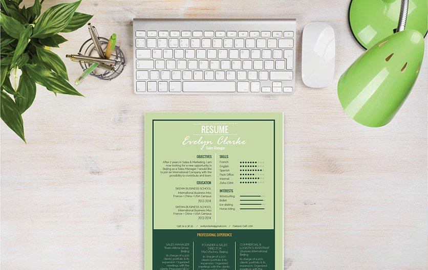 A modern resume template with a creative twist thanks to the graphics used!