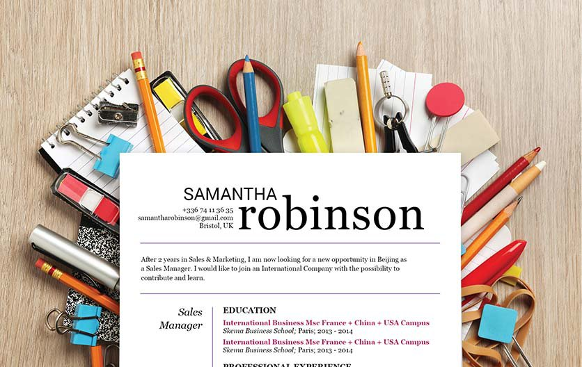 This resume template comes with a great header and attention to detail