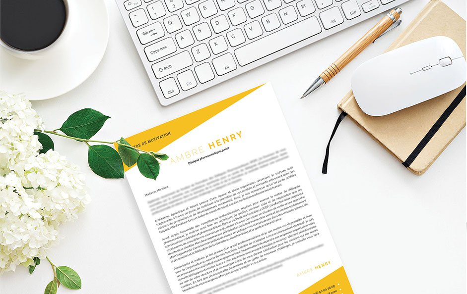 Un exemple de lettre de motivation où domine le jaune pour laisser entrevoir le côté chaleureux et amical du postulant.