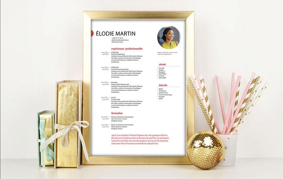 Un CV disposant en grands caractères de polices et colorées les atouts professionnels du candidat pour le démarquer des autres.