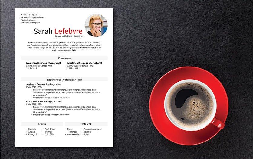 Exemple de CV mettant bien en évidence les informations essentielles du candidat avec des couleurs voyantes et des polices en gras
