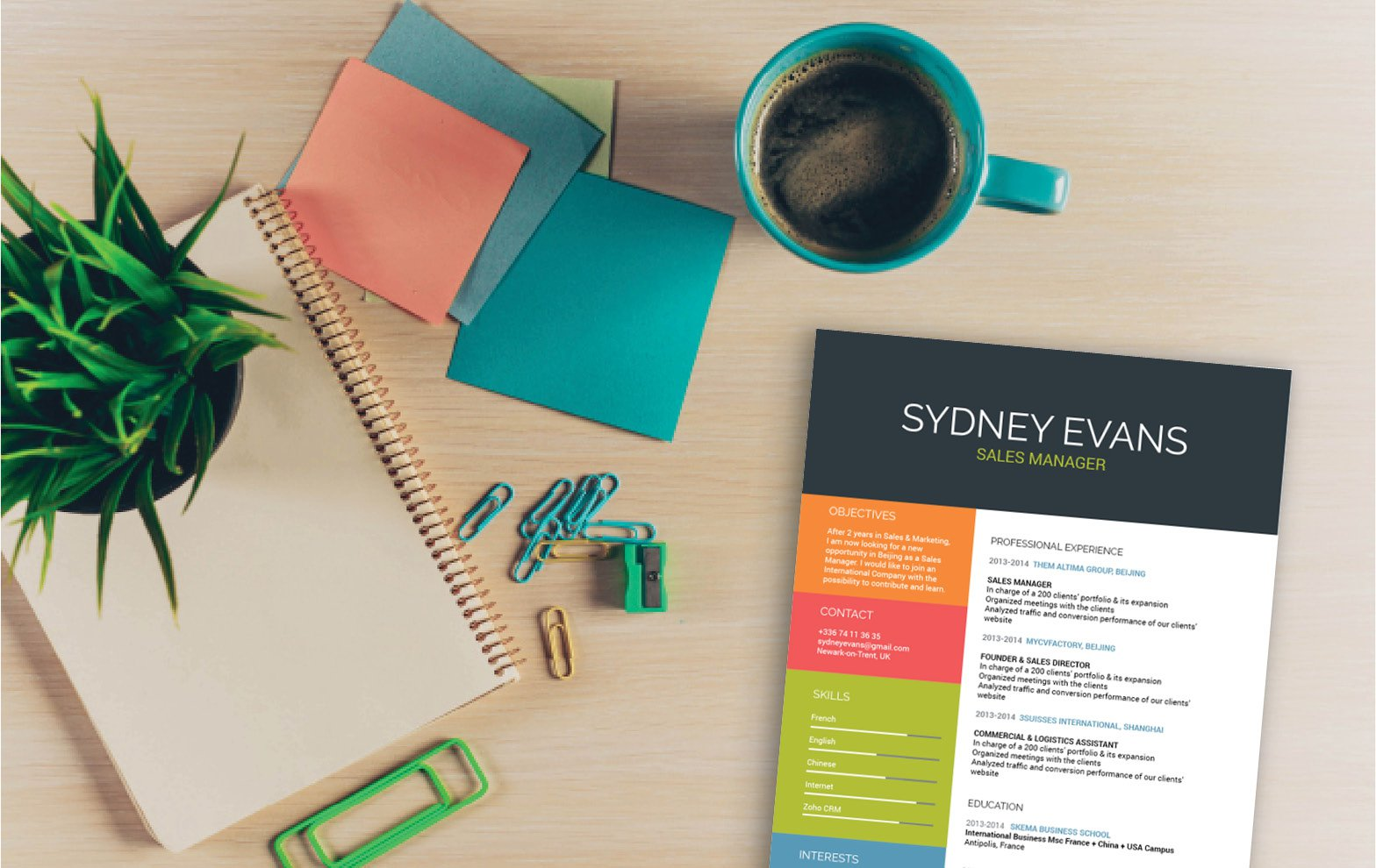 The colors and styles used in this template make for clean and great resume