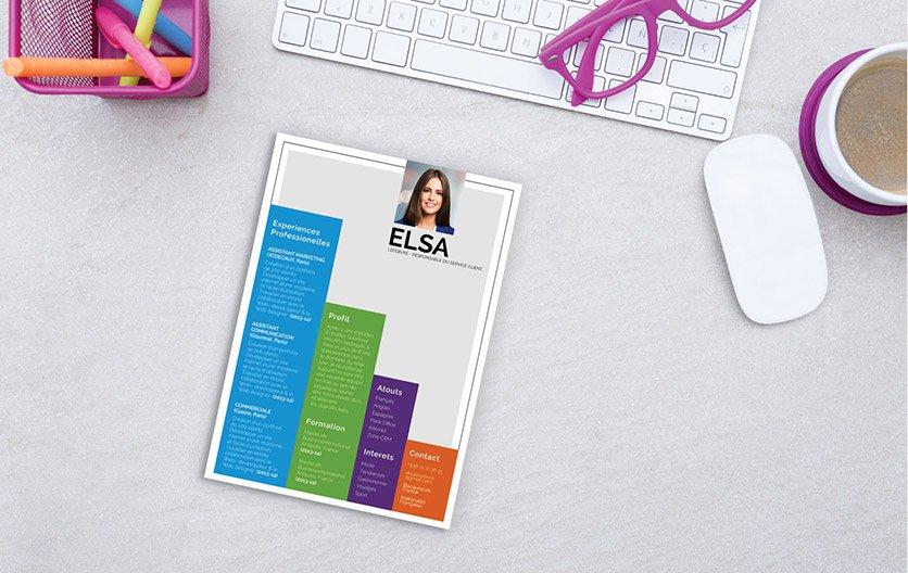 Un modèle de CV simple mais aux formes, couleurs et mise en page détonnant.