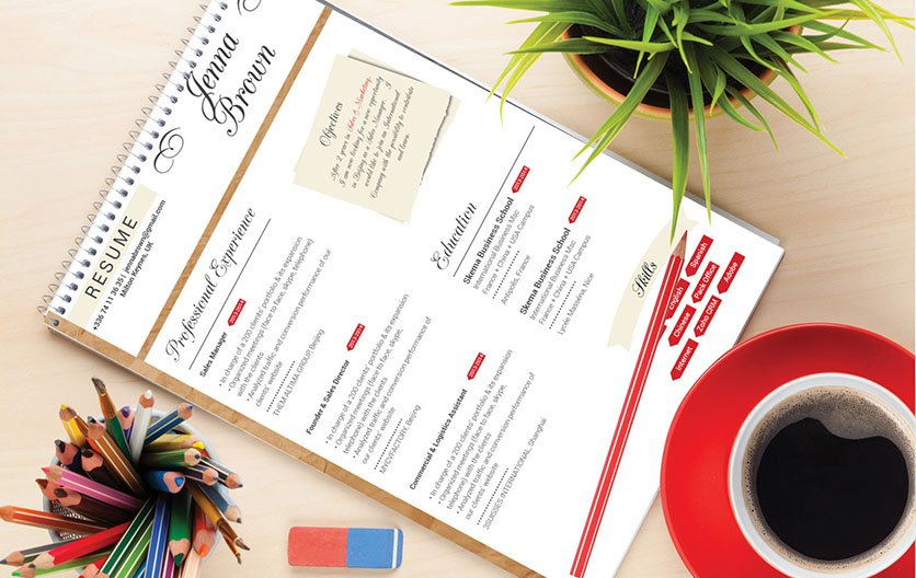 This CV template uses colors and shapes to its advantage
