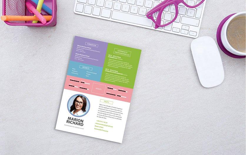 Un CV créatif, original et facile à lire, sortant du lot des autres candidatures.