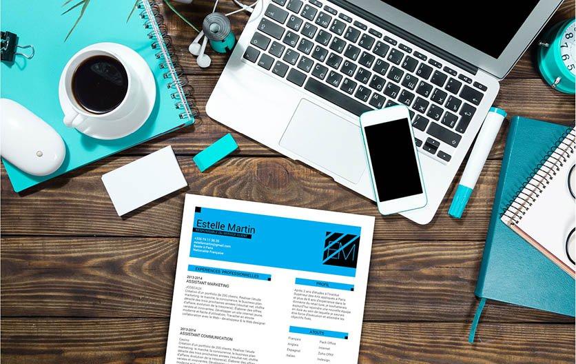 Un exemple de CV mettant en avant les informations techniques du candidat dans des formes, des lignes et des encadrés.