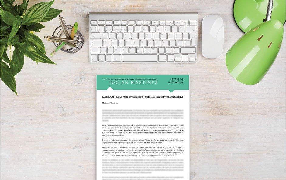 Un exemple de lettre de motivation qui sort du lot, grâce à une couleur contemporaine : le vert d'eau.