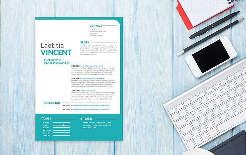 Un exemple de CV original et créatif avec des formes artistiques pour mettre en avant les principaux atouts du candidat.