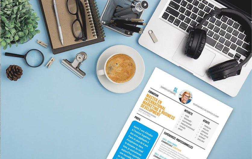 Un format de CV avec une mise en page originale qui permet de mettre l'accent sur les 6 sections du document