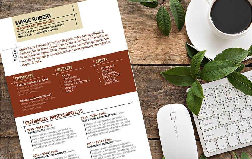 Un CV créatif haut en couleurs, créatif et original, tout le caractère du postulant.