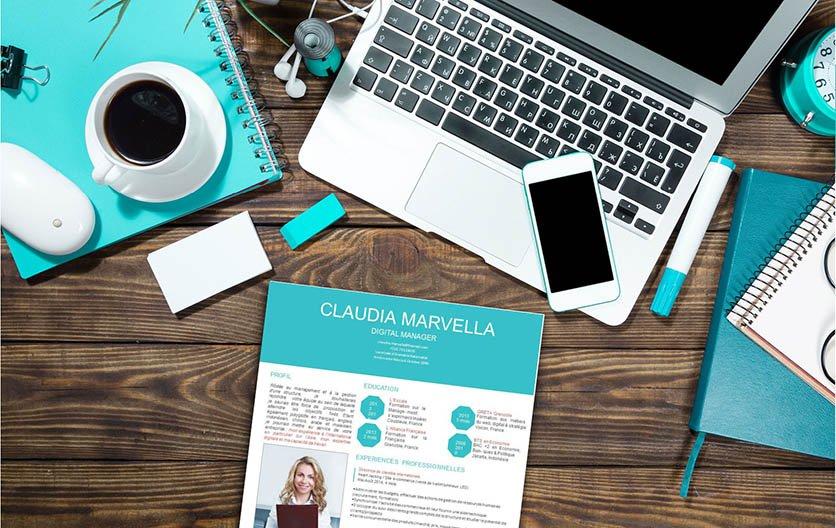 Un modèle de CV d'un visuel original et attrayant, suscitant l'intérêt du recruteur.