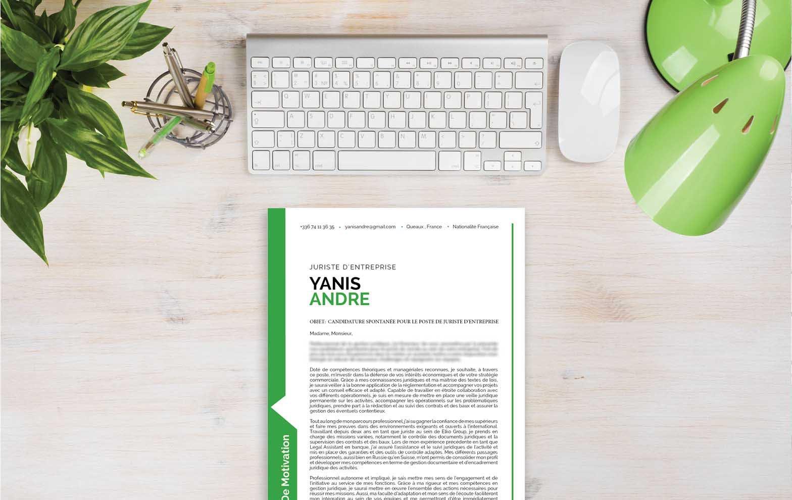 Un modèle de lettre de motivation se servant du vert pour mettre en avant certaines parties essentielles de son contenu.