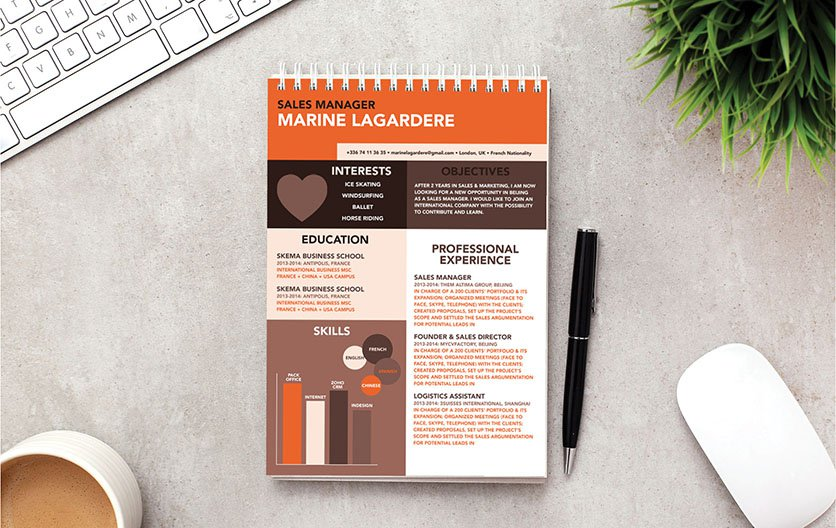 A simple resume format that has an appealing design