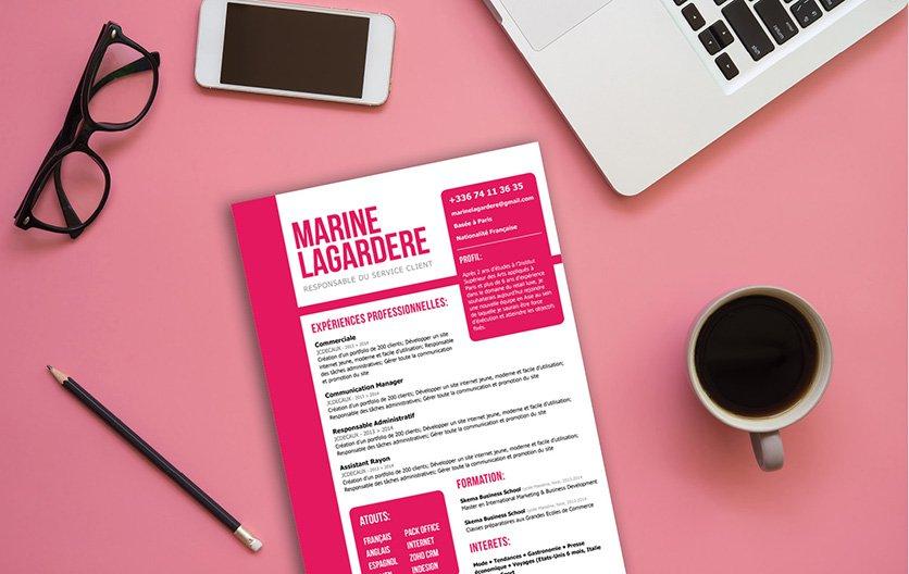 Un CV créatif et typiquement féminin par ses couleurs et sa présentation.