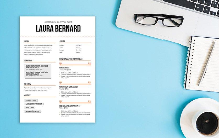 Un CV créatif et design, mettant en avant les informations les plus importantes.