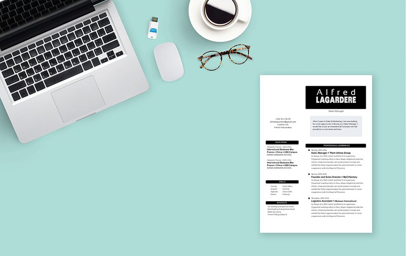 All your skills and experience is clearly written within this template's simple resume lay out