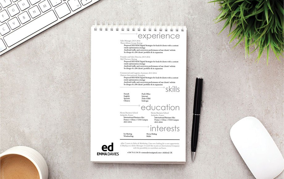 A good resume with a simple and effective design to impress your reader