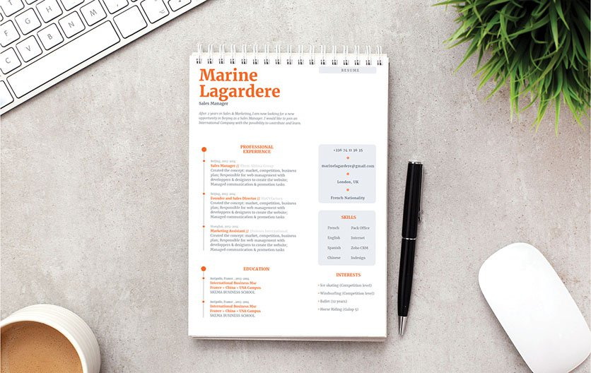 Your potential employer will immediately see you as a perfect candidate thanks to this simple resume template