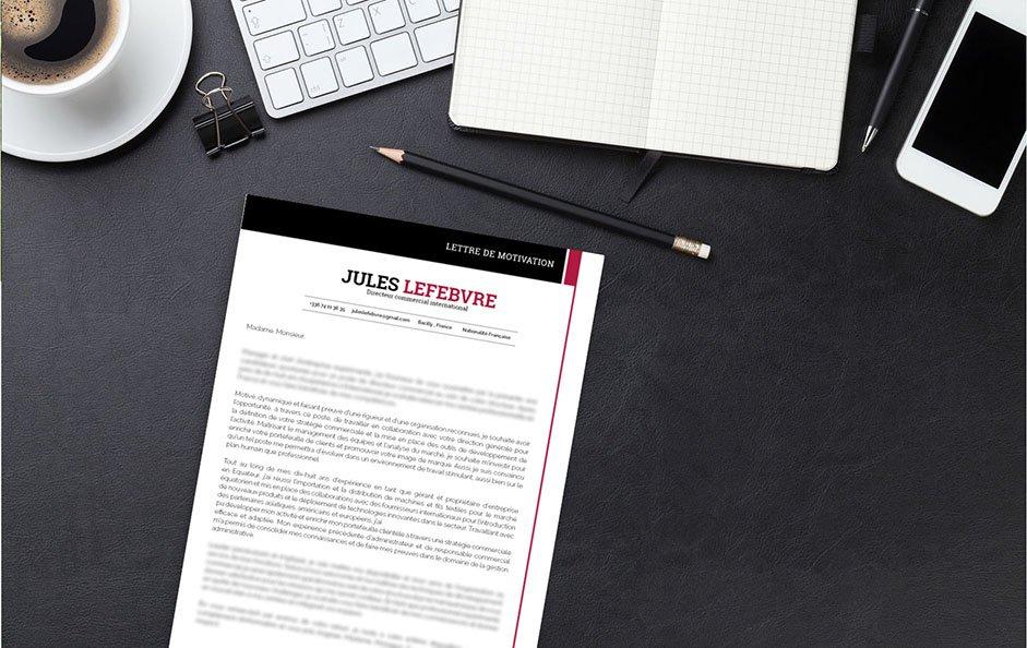 Un modèle de lettre de motivation se démarquant par le contraste de ses couleurs : blanc, noir et rouge.