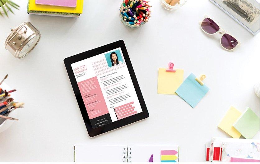 Un curriculum vitae bien ordonné, répertoriant dans des colonnes et des encadrés de divers coloris les atouts professionnels du candidat.
