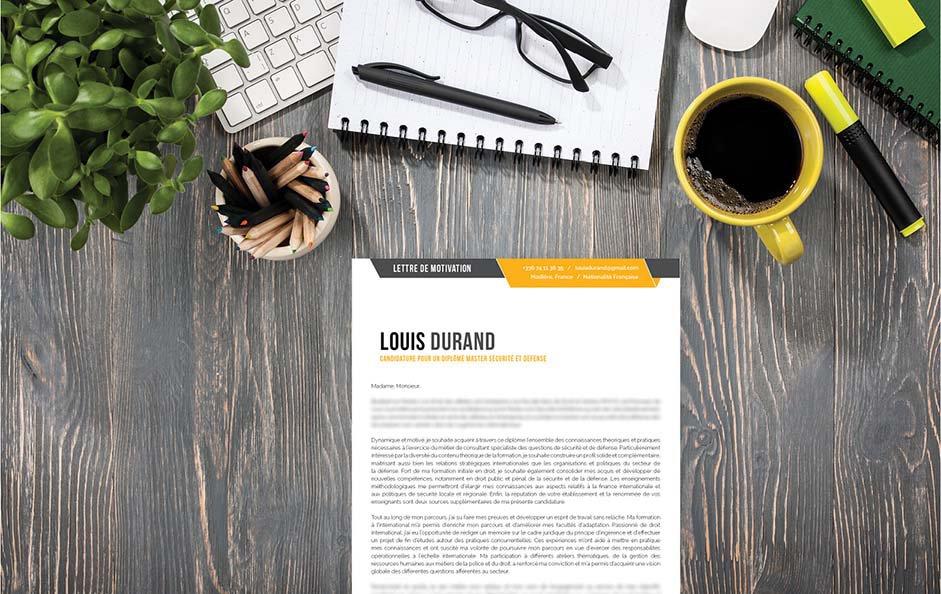 Un modèle de lettre de motivation usant du blanc, du jaune et du noir pour se distinguer.