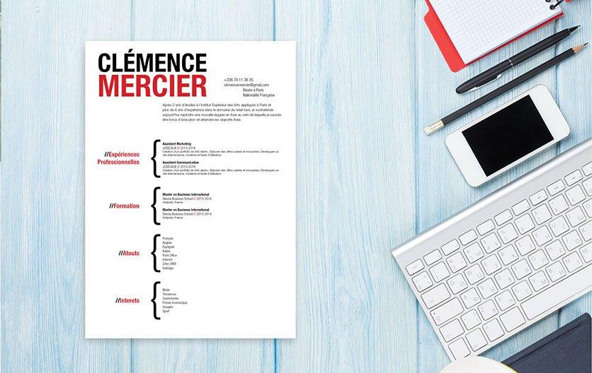 Un exemple de CV facile à lire car hiérarchisant avec des grandes polices et des formes colorées les atouts du candidat.