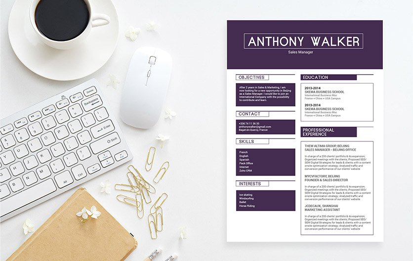 A template with a great design so you can create a great resume!