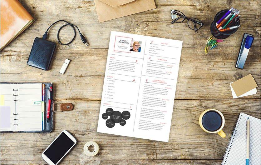 Un modèle de CV simple, bien présenté et percutant, attirant d'emblée l'attention du recruteur.