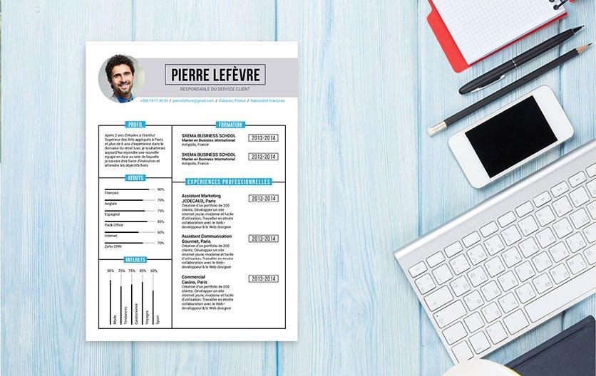 Un modèle de CV moderne, tendance et original, parfait pour un poste de cadre.