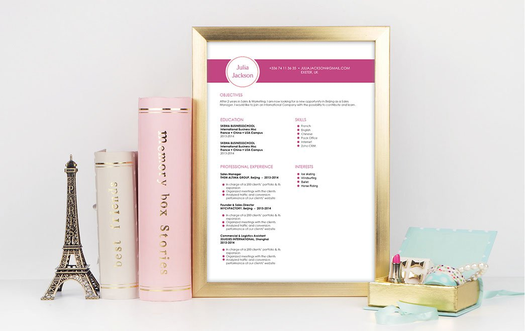The CV format is simple and sober, but has all you need to grab the attention of your reader