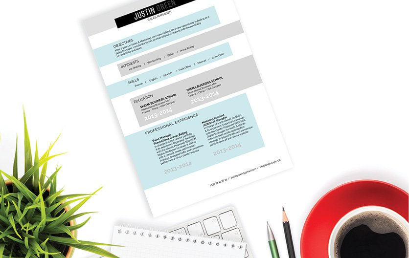 A simple resume format with a creative twist thanks to the graphics used!