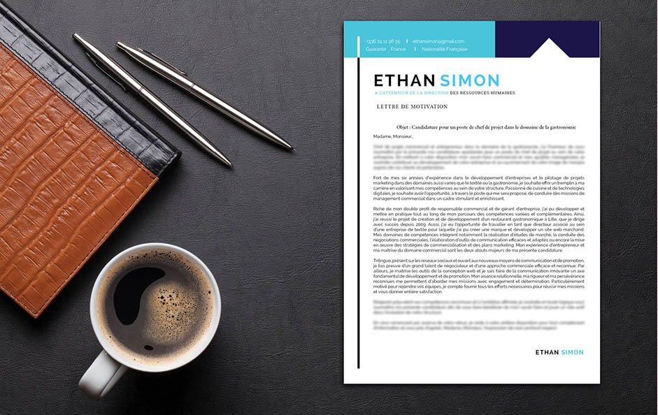 Un exemple de lettre de motivation où le contraste entre le blanc, le noir et le bleu rehausse le côté professionnel.