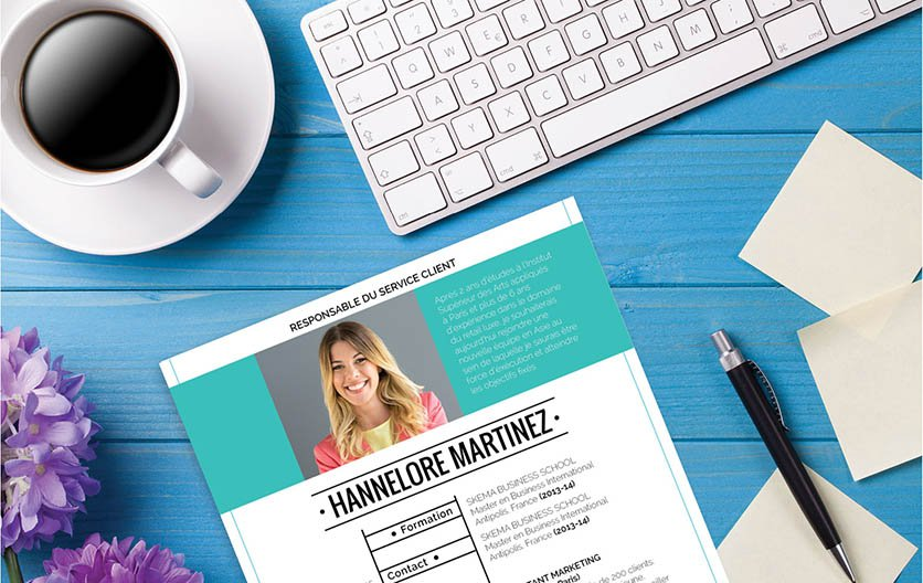 Un CV type simple mais au design astucieusement travaillé pour attirer l'attention du recruteur.