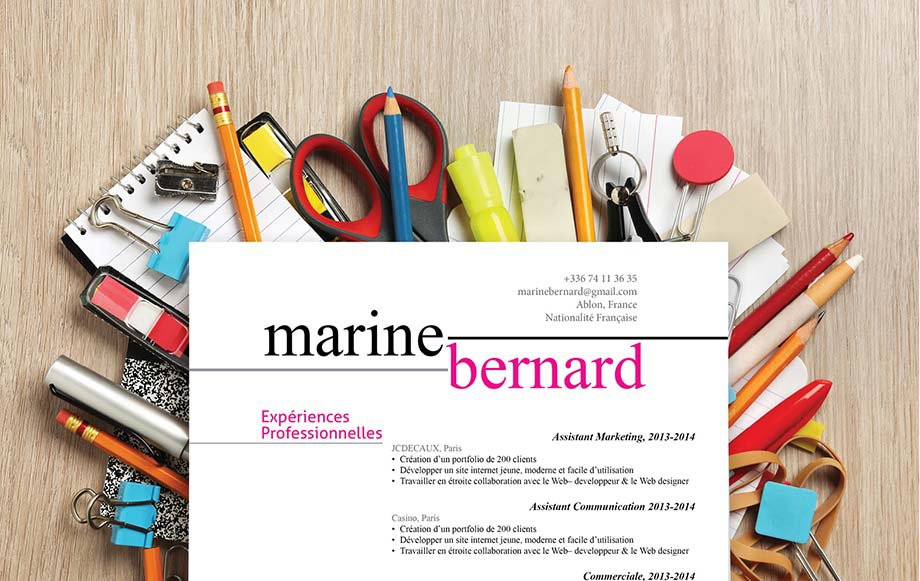 Un modèle de CV répartissant joliment et élégamment ses informations pour guider le recruteur dans sa lecture et trouver d'emblée les informations importantes.
