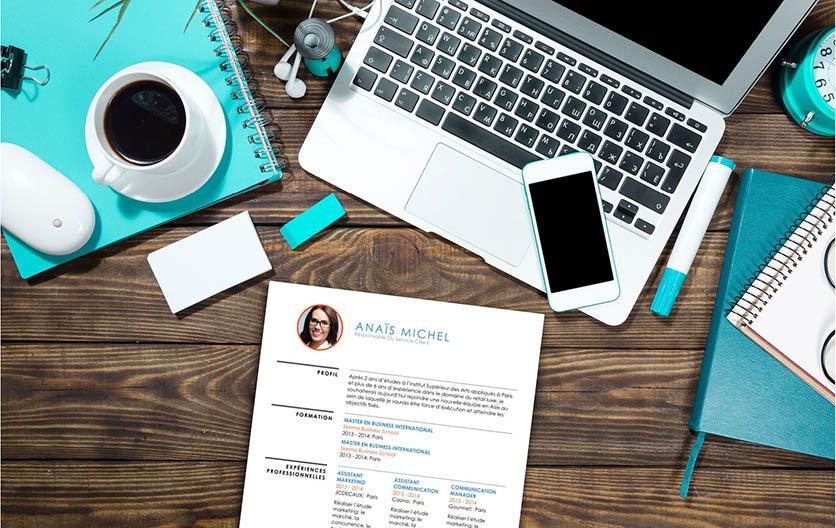 Un modèle de CV répartissant agréablement les renseignements et atouts du candidat dans des formes et des caractères de toute sorte.