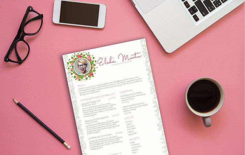 Un CV à télécharger gai et expressif tout en état sérieux et professionnel comme les recruteurs aiment.