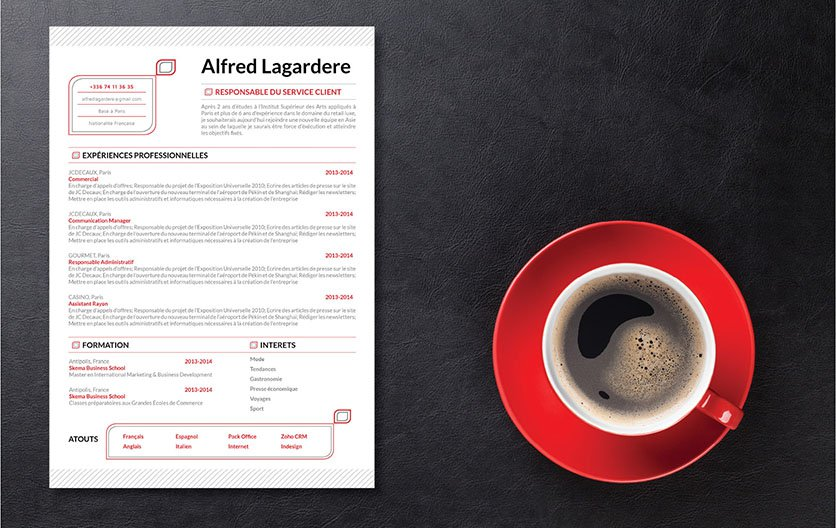 Un exemple de cv paré de lignes stylées colorées en gris et rouge, des informations mises en relief par des encadrés
