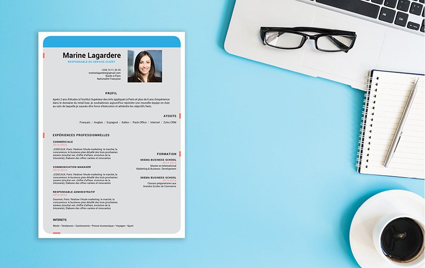 Un CV professionnel à la fois sobre, original et créatif, un document sortant du lot.
