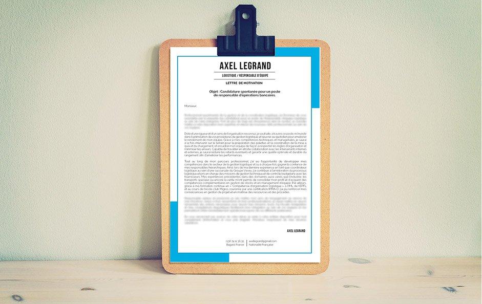 Une lettre de motivation professionnelle qui utilise une couleur très appréciée qui est le bleu