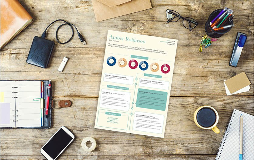 An expertly crafted color scheme, graphics, and styles are found in this simple resume template